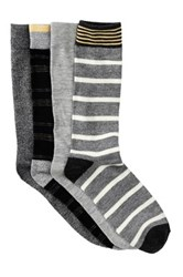 Lucky Brand Dash Stripes And Marl Crew Socks Pack Of 4 Black