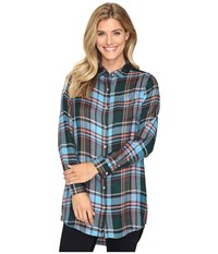 Jag Jeans Magnolia Tunic In Yarn Dye Rayon Plaid Turquoise Plaid Women's Clothing Blue