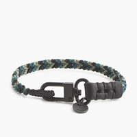 J.Crew Caputo And Co.Tm Chevron Nylon Leather Bracelet Teal Combo