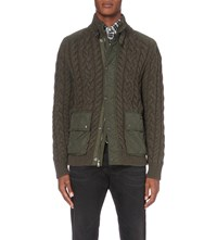 Polo Ralph Lauren Cable Knit Wool And Cashmere Blend Quilted Shell Jacket Olive