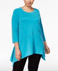 Calvin Klein Performance Plus Size Handkerchief Hem Tunic Enamel Blue