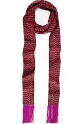 Haider Ackermann Fringed Printed Silk Twill Scarf Burgundy