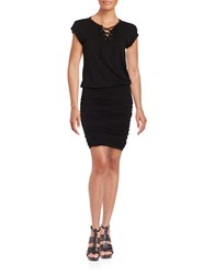 Velvet By Graham And Spencer Cap Sleeve Ruched Drop Waist Jersey Dress Black