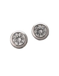 Lord And Taylor Platinum Plated Sterling Silver Bezel Set Signity Cubic Zirconia Stud Earrings