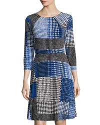 Donna Morgan Houndstooth Print Jersey Dress Iceberg Mu