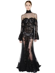 Jonathan Simkhai Sheer Cotton Lace And Tulle Gown