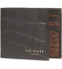 Ted Baker Crocodile Embossed Leather Wallet Black