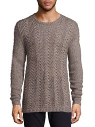 John Varvatos Long Sleeve Crewneck Merino And Alpaca Wool Blend Sweater Grey