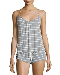 Eberjey Striped T Back Lounge Cami Sage Gray Sage Grey