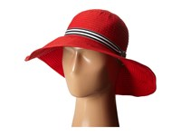 Lauren Ralph Lauren Poly Signature Grosgrain Sun Hat Deco Coral Black And White Traditional Hats Red