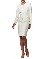 Albert Nipon Tweed Suit W Metallic Threading Soft White