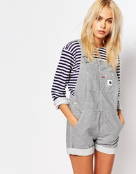 Carhartt Dungaree Playsuit In Hickory Stripe Blue Super Bleach
