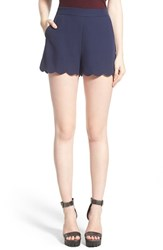 Women's June And Hudson Scallop Hem Crepe Shorts Navy
