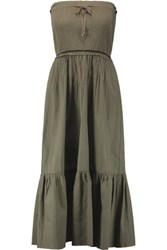 Sea Smocked Cotton Blend Maxi Dress Army Green