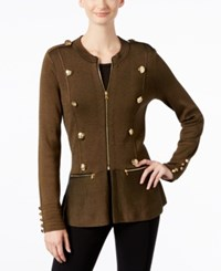 Inc International Concepts Military Sweater Jacket Only At Macy's Olive Drab