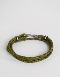 Seven London Cord Wrap Bracelet In Khaki Green