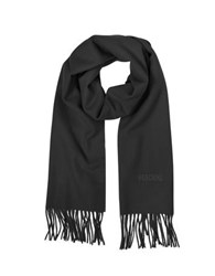 Moschino Solid Wool Signature Long Scarf W Fringe Black