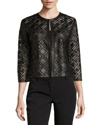 Grayse Mesh Knit Leather Patchwork Jacket Black