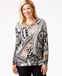 August Silk Plus Size Printed Scoop Neck Cardigan