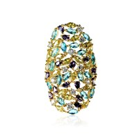 Cielle London Spring Leaves Statement Cocktail Ring Aquamarine And Kunzite Crystal Blue Gold Pink