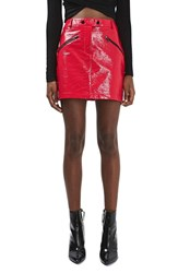 Topshop Women's Slick Coated Miniskirt Red