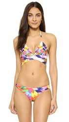 Mara Hoffman Fractals Red Wrap Around Bikini Top Peach Multi