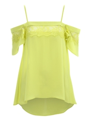 Jane Norman Lace Panel Off The Shoulder L Top Green