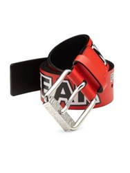 Moschino Printed Leather Belt Red