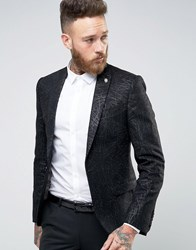 Noose And Monkey Super Skinny Blazer With Glitter Web Black