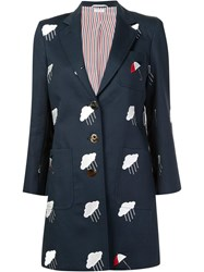 Thom Browne Embroidered Mid Length Jacket Blue