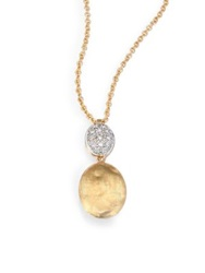 Marco Bicego Siviglia Diamond And 18K Yellow Gold Drop Pendant Necklace Gold White Gold