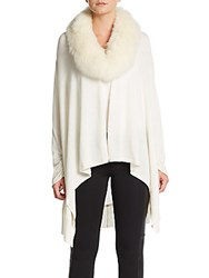 Alice Olivia Izzy Cascade Fox Fur Accented Knit Cardigan Cream