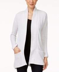 Eileen Fisher Organic Cotton Twisted Terry Shawl Cardigan Soft White