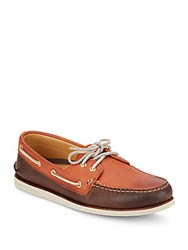 Sperry Gold A O Two Tone Leather Boat Shoes Taupe Coffee