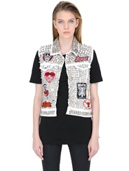 Patricia Field Art Fashion Stud Muffin Heavy Metal Denim Vest