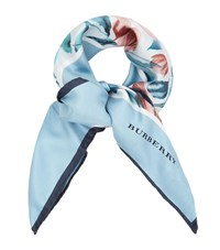 Burberry Runway Rose Print Scarf Female Light Blue