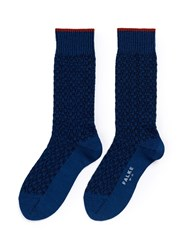 Falke 'Bed Rock' Knit Check Crew Socks Blue