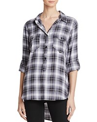 Aqua Angelique Plaid Pop Over Shirt Black