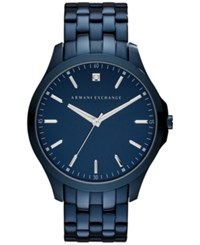 Ax Armani Exchange Men's Diamond Accent Blue Ion Plated Stainless Steel Bracelet Watch 46Mm Ax2184