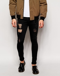 Asos Extreme Super Skinny Jeans With Extreme Rips Black