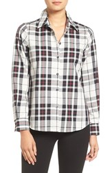 Foxcroft Women's Tartan Wrinkle Free Shirt Winter White