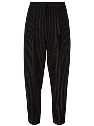 Dkny Pinstripe Pleated Trousers Black