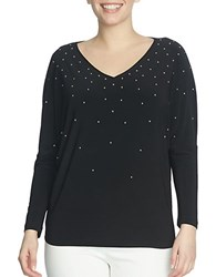 Chaus Dolman Sleeve Embellished V Neck Top Rich Black
