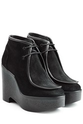 Robert Clergerie Suede Wedge Boots Black