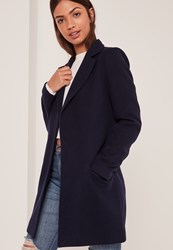 Missguided Navy Short Tailored Faux Wool Coat