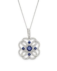 Bloomingdale's Sapphire And Diamond Pendant Necklace In 14K White Gold 18