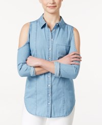 American Rag Denim Lace Back Cold Shoulder Shirt Only At Macy's