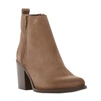 Steve Madden Porta Sm Side Zip Almond Toe Mid Heel Ankle Boots Taupe