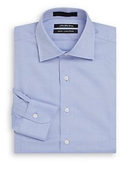 Saks Fifth Avenue Slim Fit Mini Checkered Cotton Dress Shirt Blue