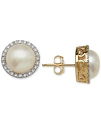 Macy's Cultured Freshwater Pearl 8Mm And Diamond 1 8 Ct. T.W. Earrings In 14K Gold White